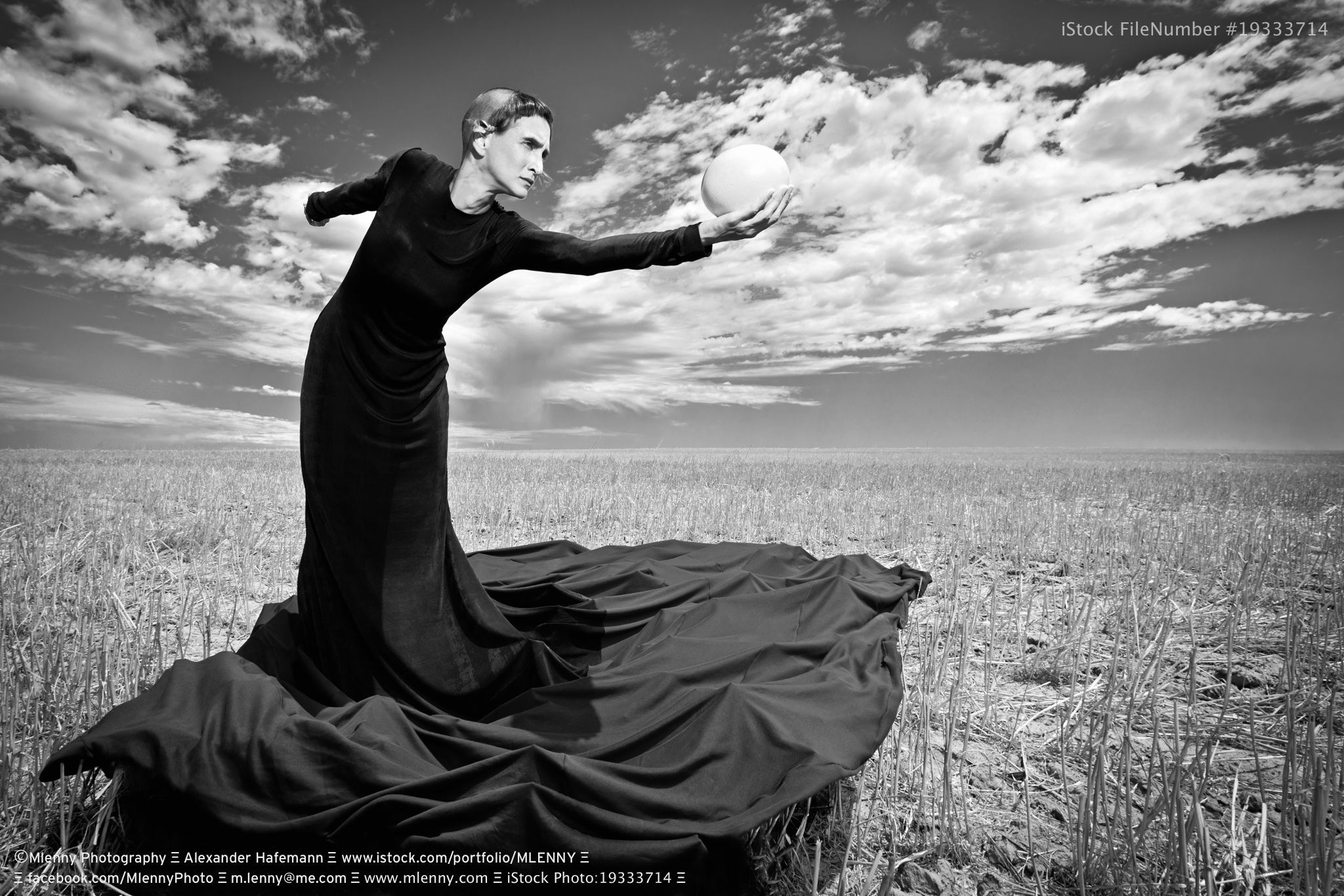 Gown & Ostrich Egg Surreal Fashion Portrait Black and White